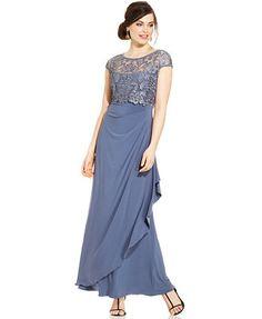 Patra Cap-Sleeve Illusion-Lace Faux-Wrap Gown