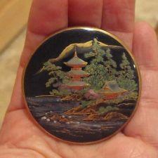Antique Satsuma Japanese Button Houses Landscape LARGE SIZE unused