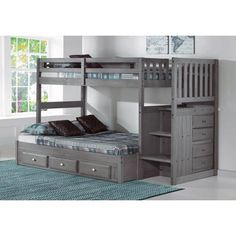 The New Charcoal Staircase Bunk Bed line takes the same well designed stair beds that we have been selling for years, and add the latest color and finish. This Twin over Full stairway bunk bed is truly one of a kind. Made by Discovery World Furniture. Bunk Beds With Drawers, Bunk Beds With Storage, Bunk Bed With Trundle, Full Bunk Beds, Bunk Beds With Stairs, Kids Bunk Beds, Bed Storage, Storage Drawers, Loft Beds