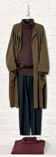 NEW Eskandar OLIVE Medium Weight Cashmere Drape Collar Long Sweater Coat $2690 #Eskandar #Sweatercoat   great color combinations