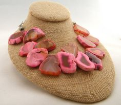 Natural Agate Slab Necklace Chunky Agate by BuddingCreations1