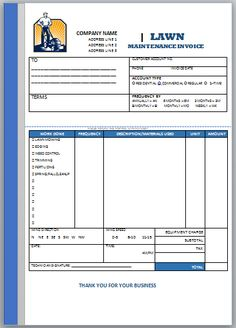 10 Best Landscaping Invoice Templates Images Invoice Design