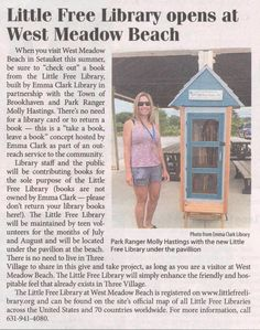 Article in Times Beacon Record Newspapers about our Little Free Library at West Meadow Beach!  Thanks again to Park Ranger Molly Hastings & Town of Brookhaven!