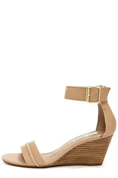 Steve Madden Neliee Bone Leather Ankle Strap Wedges at LuLus.com! $79.00