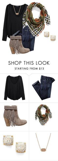 """"" by mirandafg ❤ liked on Polyvore featuring H&M, 7 For All Mankind, Steve Madden, BP., Kate Spade and Kendra Scott"