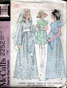 McCalls 2252 Vintage 1960s Empire Wedding Dress Pattern B32