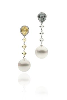 Autore Duo Earrings White Gold with Sapphires, Diamonds and South Sea pearls South Sea Pearls, South Seas, Classic Style, Sapphire, Diamonds, White Gold, Pearl Earrings, Jewellery, Contemporary