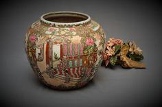 Vintage - Chinese Rose Panel Porcelain Jardiniere - Circa 1960s - Chinese Decor - Chinese Porcelain by DLDowns on Etsy