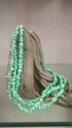 Triple Stranded Chunk Turquoise Necklace & Earring Set