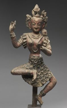 15th century, Nepal, (Early Malla Period), Vajravarahi, unbaked clay and red pigment, at the Cleveland Museum