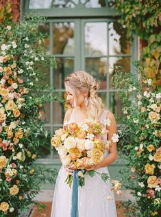 Gorgeous Yellow and White Fall Wedding Flowers with a Flower Arch