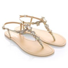 Something Blue Sole Jewel Crystal Strappy Gold Bridal Thong Sandals Shoes Destination Beach Wedding.  For the casual or boho bride. Dazzle in this vintage-inspired Luna II sandals with rows crystal jewels and white onyx-like stones set on gold metal plate. Features the lightest blue sole that can be your something blue element on your wedding day. Features adjustable buckle closure, genuine leather upper and and sole. Whether it is for a beach wedding, outdoor wedding, or to change into for…