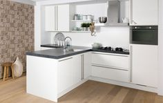 Mooie keuken! French Country Kitchens, Island With Seating, Little Kitchen, Kitchenette, Cool Kitchens, Small Kitchens, Interior Design Living Room, Kitchen Remodel, Kitchen Cabinets