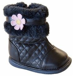 Wee Squeak Black Pansy Boots $29.95 http://www.meandmyfeet.com/wee-squeak-black-pansy-boots #Black #Pansy #Boots #Girls #Infant #Child #Toddler