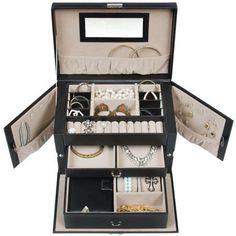 Leather Jewelry Box And Travel Case Organizer with Key – Hangorize Jewelry Drawer, Jewelry Roll, Jewelry Hanger, Kids Jewelry, Jewellery Storage, Jewelry Organization, Bedroom Organization, Organization Ideas, Bracelet Cartier