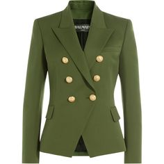 Balmain Wool Blazer (2 380 AUD) ❤ liked on Polyvore featuring outerwear, jackets, blazers, green, lapel jacket, wool jacket, balmain jacket, green jacket and balmain blazer