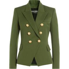 Balmain Wool Blazer (€1.630) ❤ liked on Polyvore featuring outerwear, jackets, blazers, green, green blazers, blazer jacket, wool blazer, balmain and balmain blazer