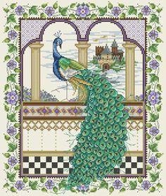 beaded peacock pattern | Cross Stitch Peacocks. Renaissance cross stitch | Joan Elliott