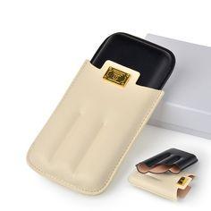 High-end Gadget Excellent Leather White Black Portable Cigar Case Holder