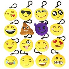 MelonBoat 16 Pack Emoji Mini Plush Pillows, Keychain Decorations, Kids Party Supplies Favors, 2