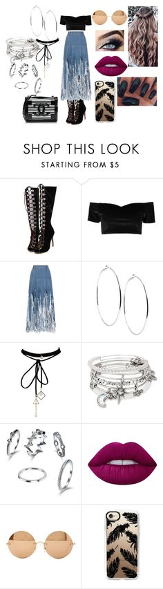 """""""Spring Shopping With The Squad"""" by shayma-sheikh ❤ liked on Polyvore featuring WithChic, Boohoo, Ksenia Schnaider, GUESS, Alex and Ani, Lime Crime, Victoria Beckham, Casetify and Chanel"""