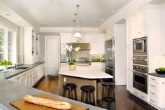 dark floors, white cabinets
