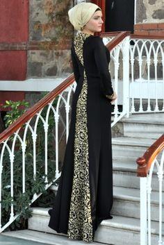 Efkeyem Siyah Enisa Tesettür Abiye Elbise