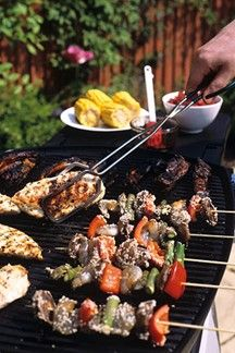 bbq wedding reception food with chicken and shrimp!!! * We could pre make kabobs the night before for people to cook themself