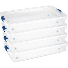 60QT Latching Clear Underbed Storage Bin, Twin/King, Set of 4 - Walmart.com