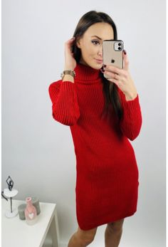 Moderné šaty červené s golfom vo veľkosti uni High Neck Dress, Turtle Neck, Sweaters, Dresses, Fashion, Turtleneck Dress, Vestidos, Moda, Fashion Styles