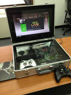 Post with 2807 votes and 91702 views. My Xbox 360 Slim briefcase mod Pc Gamer, Gamer Room, Nerd Room, Console Pc, Custom Consoles, 3d Cnc, Raspberry Pi Projects, Custom Pc, Retro Video Games