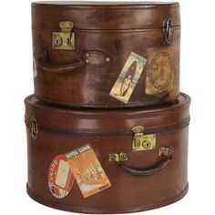Pair of Antique English Leather Travel Hat Boxes - guest room Vintage Suitcases, Vintage Luggage, Vintage Travel, Vintage Hat Boxes, Travel Hat, Leather Suitcase, Vintage Trunks, Luggage Labels, Leather Hats