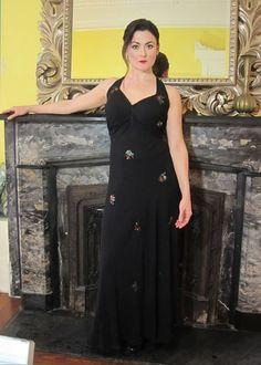 1930's / 1940's Black Full Length Sequined Gown