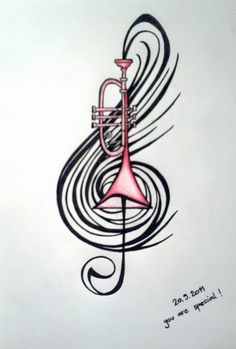 Trumpet drawing for my brother's B-day