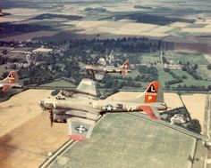 B-17G Flying Fortresses of 381st Bomb Group, Eighth Air Force, in 1944 return from a mission to Royal Air Force Station Ridgewell, England. (U.S. Air Force courtesy photo)