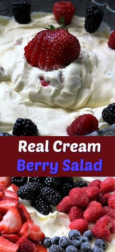 Real cream berry salad is the creamiest salad. Loaded with fresh berries and mixed with vanilla pudding it is always a delicious hit with all ages. My Recipes, Salad Recipes, Favorite Recipes, Raspberry, Strawberry, Berry Salad, Blueberry Desserts, Chicken Sandwich, Chocolate Pudding