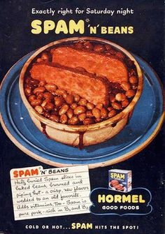 Spam 'n' Beans ad, 1960s vintage recipe