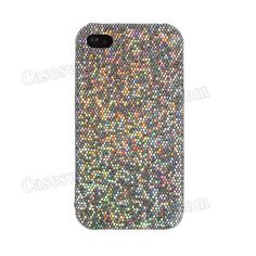 Silver Grey Magnificent Glittery Evening Dress Pattern Faux Leather Coated Back Case Cover for Iphone 4/4S US$3.19