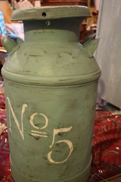Vintage Metal Milk can painted with Annie Sloan Chalk Paint