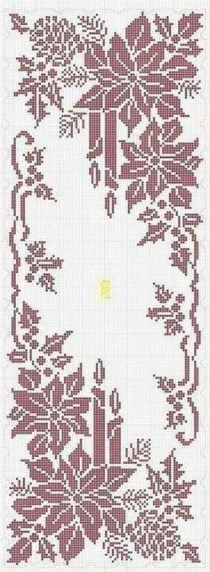 Ideas for crochet table runner chart cross stitch Filet Crochet, Crochet Chart, Thread Crochet, Crochet Patterns, Crochet Ideas, Knitting Patterns, Xmas Cross Stitch, Cross Stitch Charts, Cross Stitch Designs