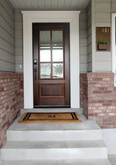70 Best Modern Farmhouse Front Door Entrance Design Ideas - August 04 2019 at Front Door Molding, Door Molding, Exterior Trim, Exterior Doors, Entrance Design, Windows Exterior, Door Makeover, Exterior Door Trim, Exterior House Colors