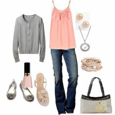 Summer and Spring fashion with designer jeans, fashion earrings, bracelet and necklace. Gray cardigan and coral top and topped off with skirt purse from thirty-one!  With purchase of $31 in April get this bag for just $22.50 www.mythirtyone.com/dianecaudill