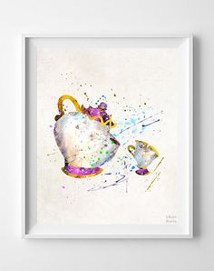 Mrs Potts Art, Mrs Potts Print, Beauty and the Beast, Chip Poster, Art Print, Watercolor Art, Disney Poster, Baby Wall Decor, Valentines Day