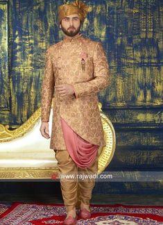 Indo western Sherwani designs for men Sherwani For Men Wedding, Wedding Dresses Men Indian, Wedding Outfits For Groom, Sherwani Groom, Wedding Dress Men, Wedding Men, Wedding Attire, Blue Sherwani, Mariage