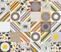 urban jungle cheater quilt squares fabric by scrummy on Spoonflower - custom fabric #urbanjungle #cheaterquilt #spoonflower #babybedding #baby #fabric #giraffe #elephant #toucan #bird #rhino #baby #genderneutral #polkadot #spot #stripe #architecture #illustration #graphic #silver #beige #white