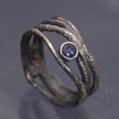 rings - P 12 - Ring: oxidized silver, sapphire