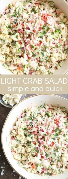 Light Crab Salad is a simple salad recipe. The salad has crab meat, red pepper, red onion, cucumber Crab Meat Salad, Crab Pasta Salad, Seafood Salad, Avocado Crab Salad, Sea Food Salad Recipes, Crab Meat Recipes, Healthy Recipes, Crab Salad Recipe Healthy, Simple Salad Recipes