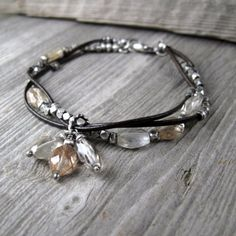 Intertwined leather and quartz