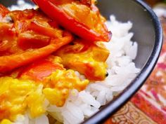 Marmaduke Scarlet: nigel slater's baked tomatoes (and a few baked sweet peppers) with fragrant spices and coconut served with steamed jasmine rice