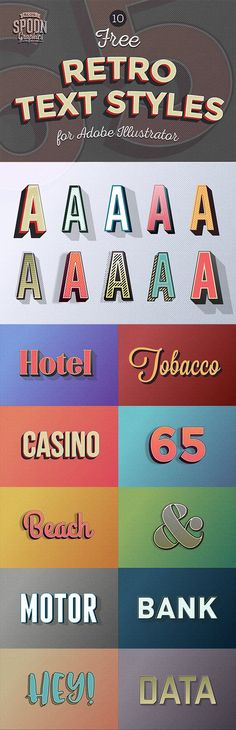 10 Free Retro Text Effect Graphic Styles for Adobe Illustrator